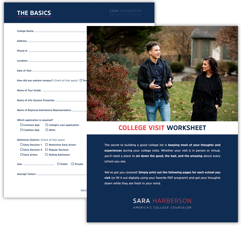 Download Sara Harberson's free College Visit Worksheet!